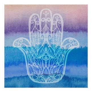 Oceano do Pastel do design do poster da aguarela Pôster