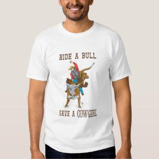 """Ocidental """"passeio umas economias de Bull camisa T-shirts"""