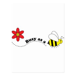 Ocupado como desenhos animados felizes das abelhas cartão postal
