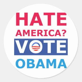 Ódio América? Voto Obama (anti Obama) Adesivos Redondos