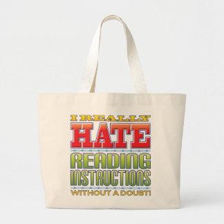 Ódio das instruções da leitura bolsas para compras