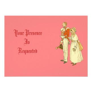Oficial do exército e senhora do Victorian Convite Personalizados