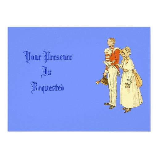 Oficial do exército e senhora do Victorian Convites Personalizados