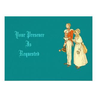 Oficial do exército e senhora do Victorian Convites Personalizado