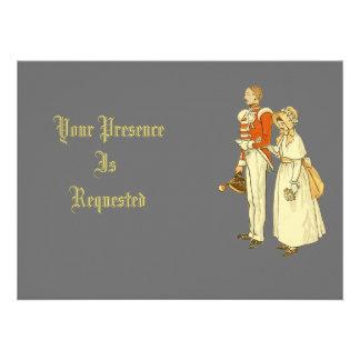 Oficial do exército e senhora do Victorian Convite