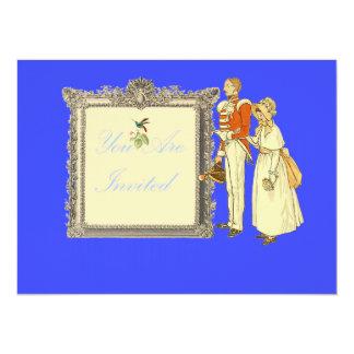 Oficial do exército e senhora do Victorian Convite 13.97 X 19.05cm