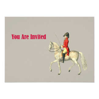 Oficial do exército montado do Victorian Convite 13.97 X 19.05cm