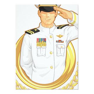 Oficial do exército no gesto da saudação convite 13.97 x 19.05cm