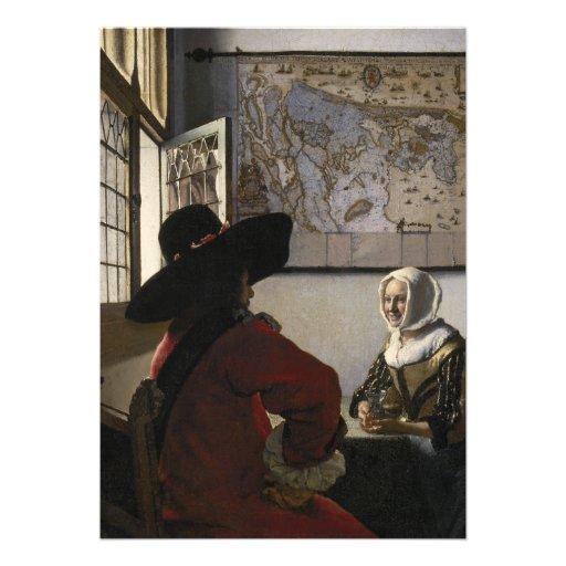 Oficial e menina de riso por Johannes Vermeer Convite Personalizado