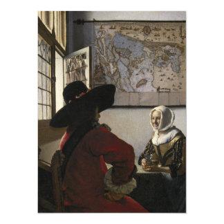 Oficial e menina de riso por Johannes Vermeer Convite 13.97 X 19.05cm