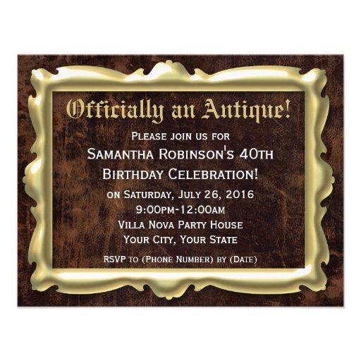 Oficialmente 40th convites de festas antigos