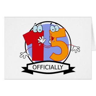Oficialmente bandeira de 15 aniversários cartão comemorativo