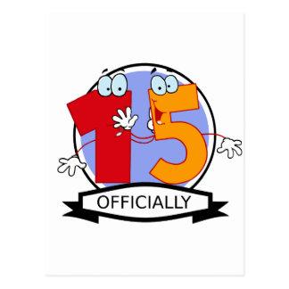 Oficialmente bandeira de 15 aniversários cartão postal