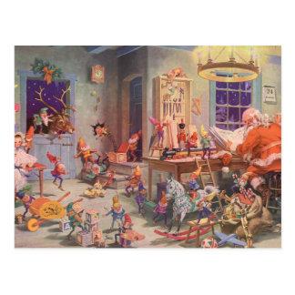 Oficina do natal vintage, do Papai Noel e dos duen Cartão Postal