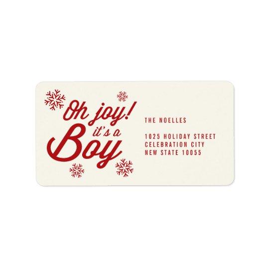 Oh alegria é etiqueta de endereço do Natal do bebê