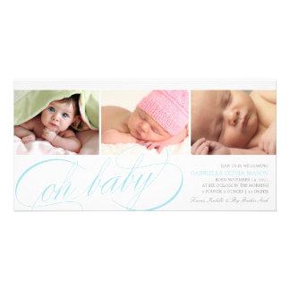 Oh anúncio azul do nascimento do roteiro do bebê | cartão com foto