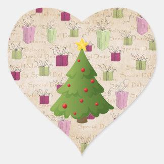 Oh árvore de Natal Adesivos Em Forma De Corações