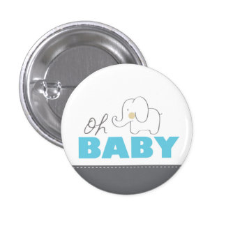 Oh botão azul & cinzento do elefante do bebê - do bóton redondo 2.54cm