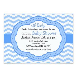 Oh chá de fraldas de Chevron dos azuis bebés Convite 12.7 X 17.78cm