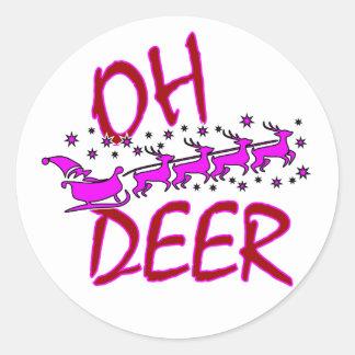 Oh etiquetas dos cervos com o papai noel para o