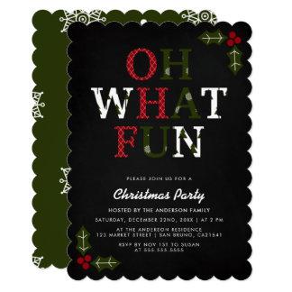 OH festivo QUE festa de Natal dos flocos de neve Convite 12.7 X 17.78cm