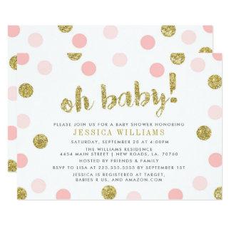 Oh o bebê cora rosa e convite do chá de fraldas do