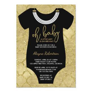 Oh o bebê, senhora pequena chá de fraldas convida, convite 12.7 x 17.78cm