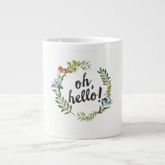 Oh olá! caneca de café da grinalda da flor da