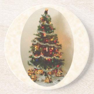 Oh, porta copos do arenito da árvore de Natal