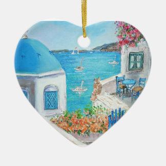 Oia, ornamento do coração de Santorini