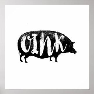 OINK porco engraçado do vintage Pôster