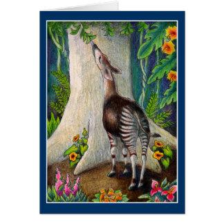 Okapi bonito no cartão do cumprimento ou de nota