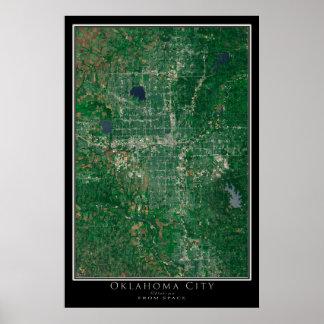 Oklahoma City da arte do satélite do espaço Poster