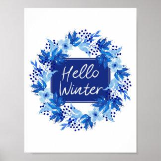 Olá! aguarela azul do impressão A4 da flor do