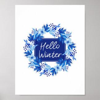 Olá! aguarela azul do impressão da flor do inverno