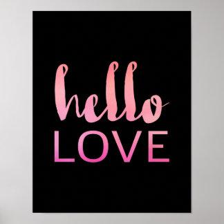 Olá! amor - tipografia cor-de-rosa - poster preto pôster
