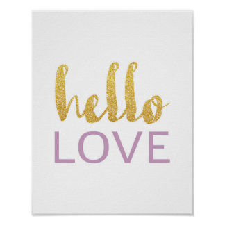 Olá! amor - tipografia do ouro - poster branco pôster