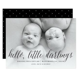 Olá! anúncio pequeno do nascimento dos gêmeos dos