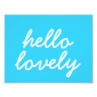 """Olá! azul bonito 8,5"""""""" arte da parede x11 impressão de foto"""