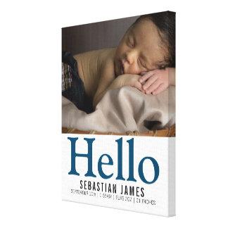 Olá! bebé novo lembrança personalizada impressão em canvas
