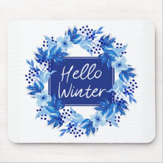 Olá! branco azul de Mousepad da flor do inverno