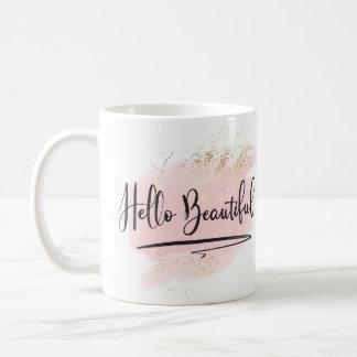 Olá! caneca cor-de-rosa bonita da aguarela