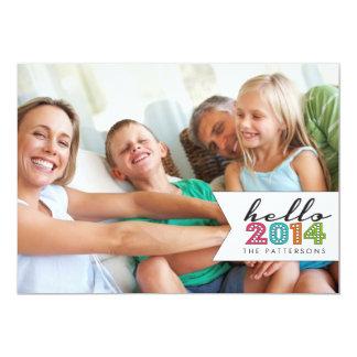 Olá! cartão com fotos 2014 da família do feliz ano convite 12.7 x 17.78cm