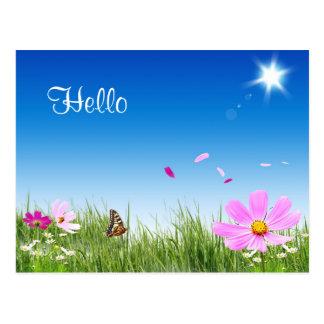 Olá! cartão do jardim da borboleta da margarida