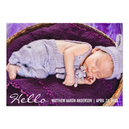 Olá! cartão novo do anúncio da foto do bebê convite 12.7 x 17.78cm