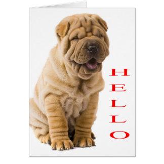 Olá! cartão vazio de cão de filhote de cachorro de