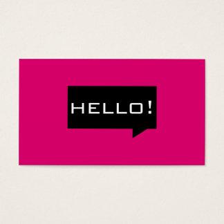 Olá! cartões de visitas do padrão do rosa da bolha