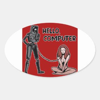 Olá!, computador adesivo oval