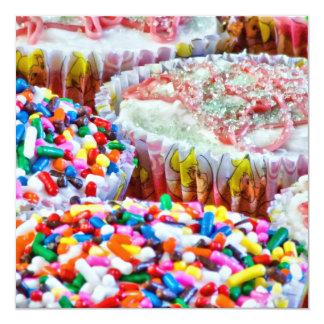 Olá! cupcake! convite quadrado 13.35 x 13.35cm