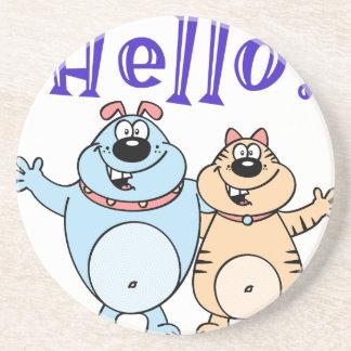 olá!, design bonito de dois desenhos animados porta-copos de arenito